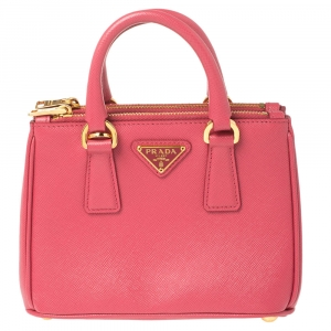 Prada Pink Saffiano Lux Leather Mini Double Zip Crossbody Bag