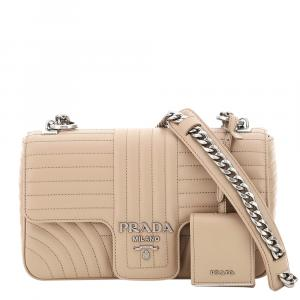 Prada Beige Leather Diagramme Shoulder Bag