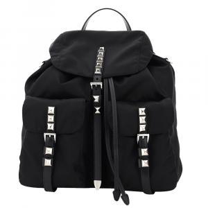 Prada Black New Vela Studded Backpack