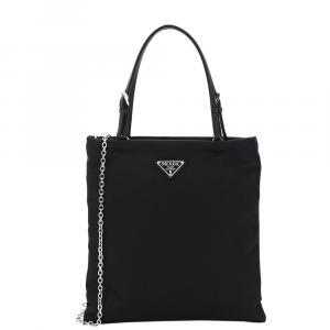 Prada Black Leather Mini Tote Bag