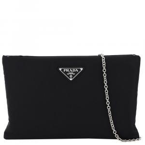 Prada Black Nylon Padded Medium Clutch on Chain Bag