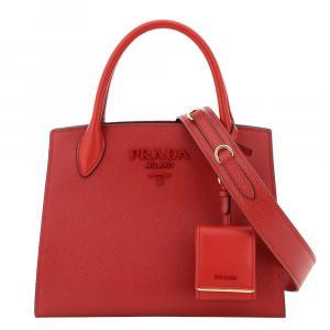 Prada Red Saffiano Leather Monochrome Small Bag