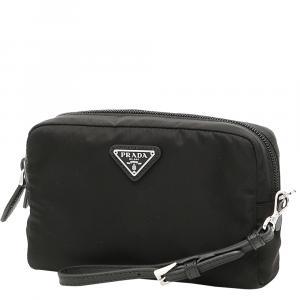 Prada Black Nylon Cosmetic Wristlet Bag