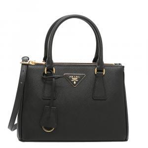 Prada Black Saffiano Leather Lux Galleria Mini Bag