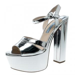 Prada Metallic Silver Leather Peep Toe Platform Sandals Size 37