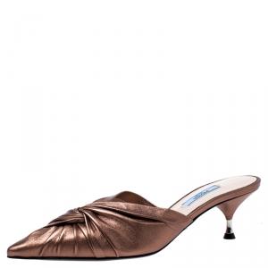 Prada Metallic Bronze Leather Slip On Mule Sandals 37.5 -