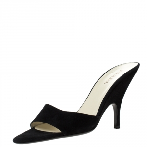 Prada Black Suede Mules Slides Size 38.5
