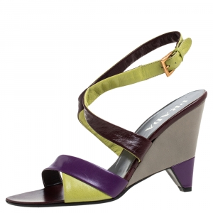 Prada Tricolor Leather Ankle Strap Wedge Sandals Size 39 - used