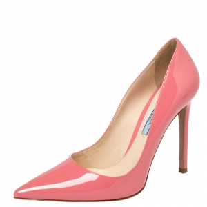 حذاء كعب عالى برادا مقدمة مدببة جلد لامع وردى مقاس 37