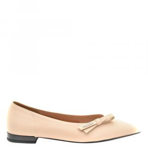 Prada Beige Leather Ballet Flats Size EU 36
