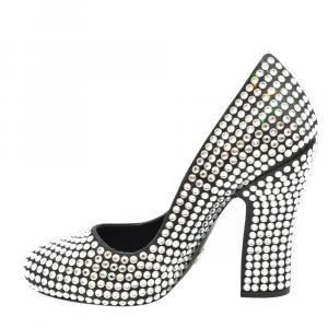 Prada Black Satin Crystal Embellished Block Heel Pumps Size EU 35
