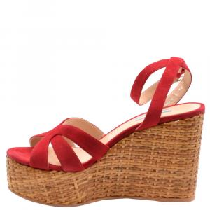 Prada Red Suede Wedge Platform Sandals Size EU 36