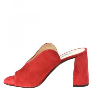 Prada Red Suede Block Heel Sandals Size EU 37