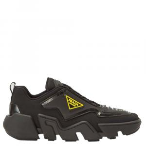 Prada Black/Yellow Techno Stretch Fabric Sneakers Size EU 40