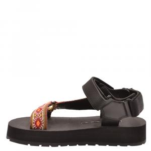 Prada Black Rubber/Fabric Flat Sandals Size EU 36