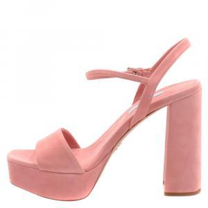 Prada Pink Suede Block Heel Platform Sandals Size EU 36.5
