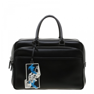 Prada Black Leather Piped Briefcase