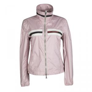 Prada Sport Alabastro Pink Nylon Zip Front Jacket M