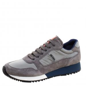 Prada Sport Grey Suede And Nylon Lace Up Sneakers Size 38