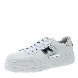 Prada Sport  White Leather Platform Sneakers Size 38