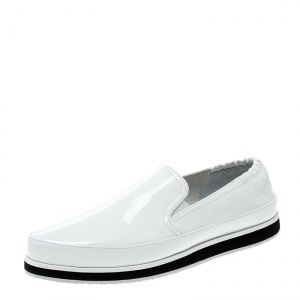 Prada Sport White Patent Leather Scrunch Slip On Loafer Sneakers Size 37