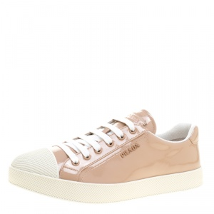 Prada Sport Beige Patent Leather Low Top Sneakers Size 39