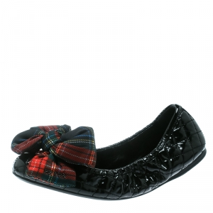 Prada Sport Black Quilted Patent Leather Tweed Check Print Bow Scrunch Ballet Flats Size 38.5