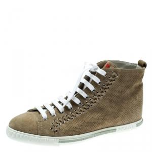 Prada Sport Beige Suede Eyelet Detail High Top Sneakers Size 37