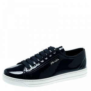 Prada Sport Oxford Blue Patent Leather Sneakers Size 39