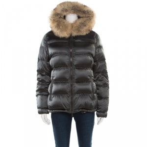 Prada Sport Grey Quilted Fox Fur Hooded Zip Front Down Jacket S