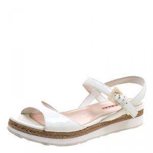 Prada Sport White Patent Leather Espadrille Flat Sandals Size 38