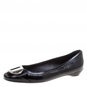 Prada Sport Black Patent Leather Ballet Flats Size 39
