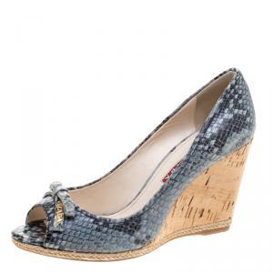 Prada Sport Embossed Python Leather Peep Toe Wedge Espadrille Sandals Size 35
