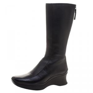 Prada Sport Black Leather Square Toe Mid Calf Boots Size 35