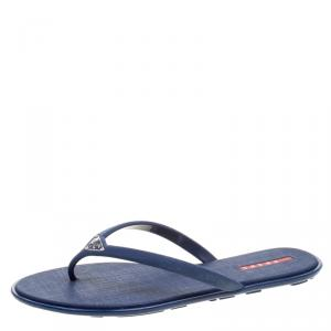 Prada Sport Blue Crosshatched Thong Sandals Size 40
