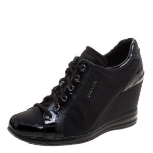 Prada Sport Black Nylon and Leather Wedge Lace Up Sneakers Size 38.5