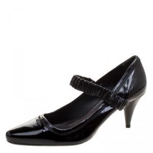 Prada Sport Black Patent Leather Scrunch Ankle Strap Pumps Size 40