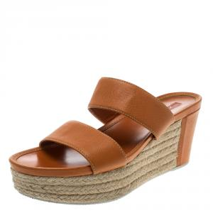 Prada Orange Saffiano Leather Wedge Espadrille Sandals Size 40.5