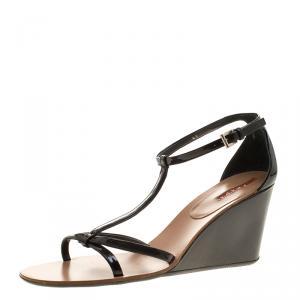 Prada Sport Black Patent Leather Wedge Sandals Size 41