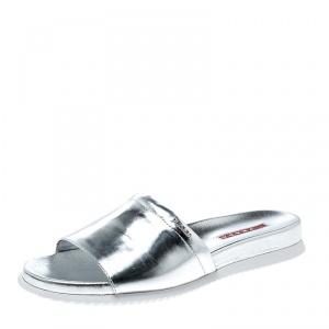 Prada Sport Metallic Silver Leather Slides Size 38