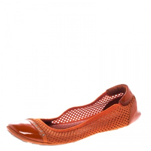 Prada Sport Orange Mesh Patent Leather Cap Toe Ballet Flats Size 36