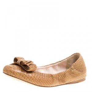 Prada Sport Beige Python Leather Scrunch Bow Ballet Flats Size 36.5