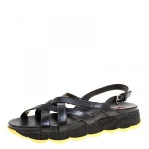 Prada Sport Black Leather Cross Strap Flat Sandals Size 39.5