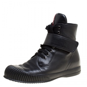 Prada Sport Black Leather Lace Up High Top Sneakers Size 39