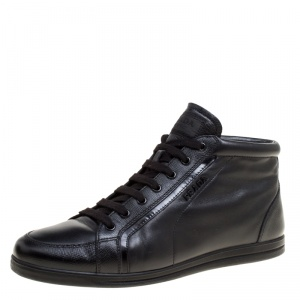 Prada Sport Black Leather Lace Up Sneakers Size 38.5
