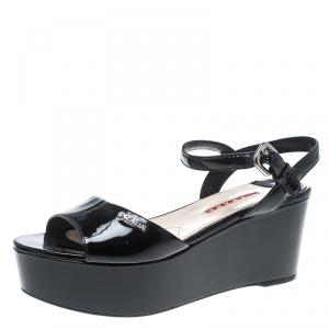 Prada Sport Black Patent Leather Ankle Strap Platform Sandals Size 36.5