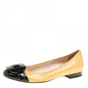 Prada Sport Two Tone Patent Leather Buckle Detail Ballet Flats Size 36.5