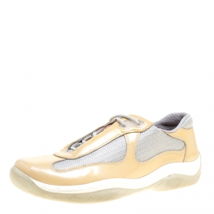 Prada Grey/Beige Mesh and Patent Leather Carrie Lace Up Sneakers Size 36