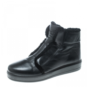 Prada Sport Black Leather Fur Lined Ankle Boots Size 40.5