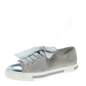 Prada Sport Grey/Metallic Silver Suede and Leather Cap Toe Platform Sneakers Size 37.5